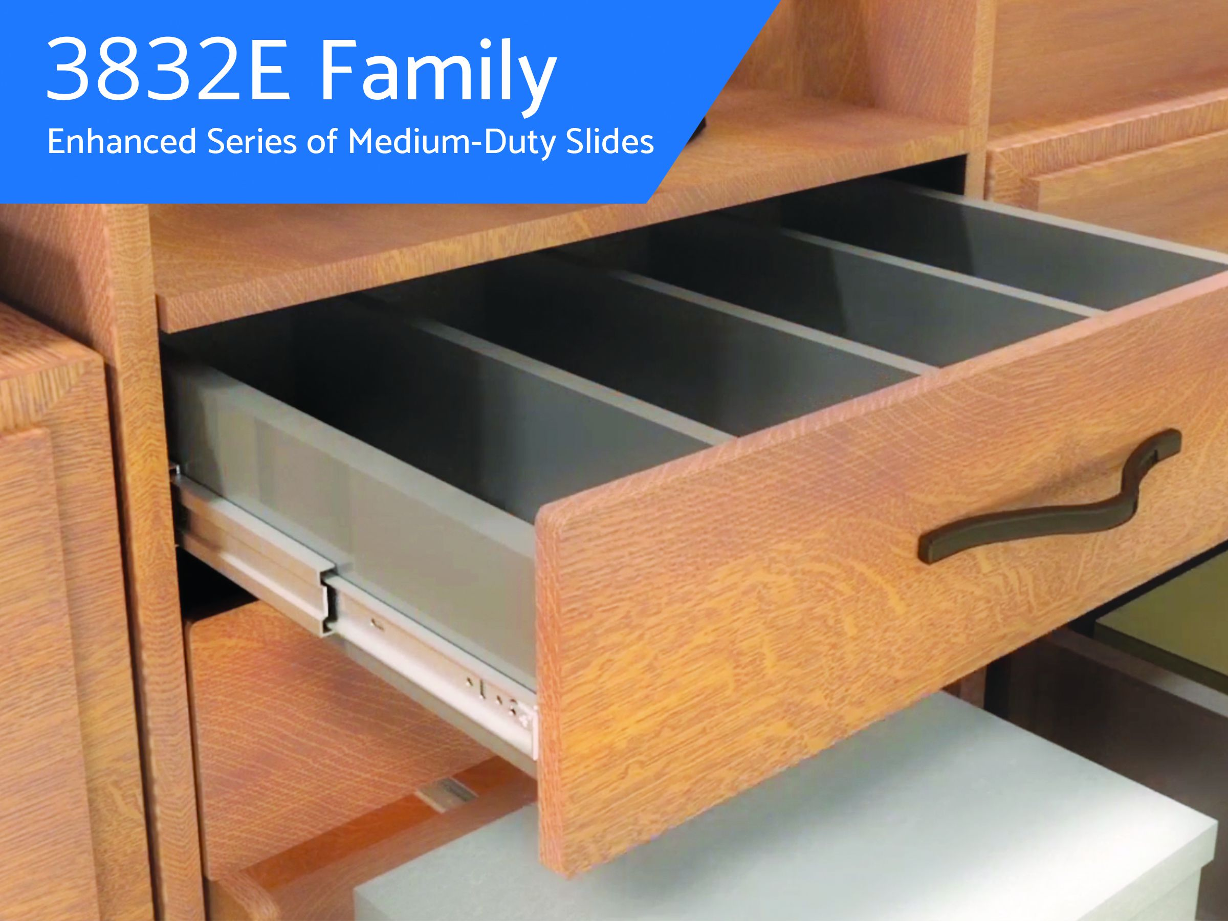 Medium duty drawer slide with enhanced functions
