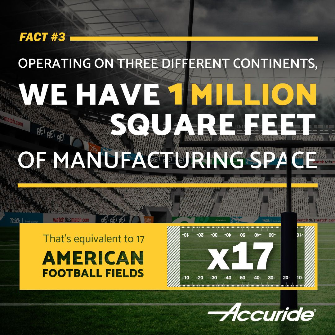 Accuride operating in 3 different countries have 1 million sqft of manufacturing space