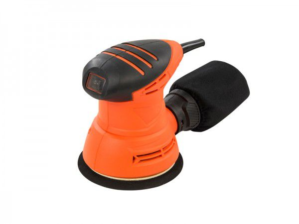 A palm sander has clamps that hold a sheet of sandpaper against an orbital rubber pad.