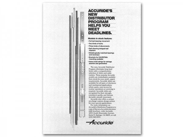 The 1980s also saw the establishment of the Distributor Program, making Accuride products available via a network of local distributors.