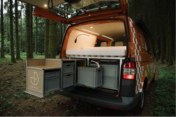 VANLIFE campers include multi-compartment storage sections in the rear.