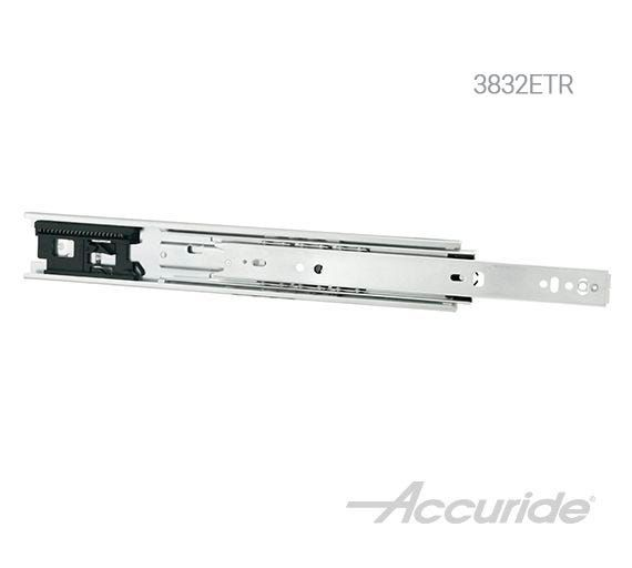 """The Accuride 3832ETR includes a """"touch-release"""" feature that eliminates the need for handles or knobs. This makes it ideal for minimalist or concealed drawers."""
