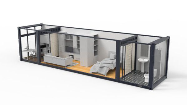 This 3-D rendering highlights how Accuride sliding solutions can be utilized to transform a standard-sized shipping container into a modern studio apartment.
